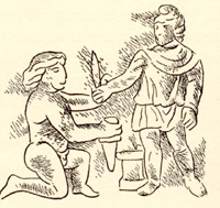 Helios kneels and submits to Mithras, the new Invincible Sun