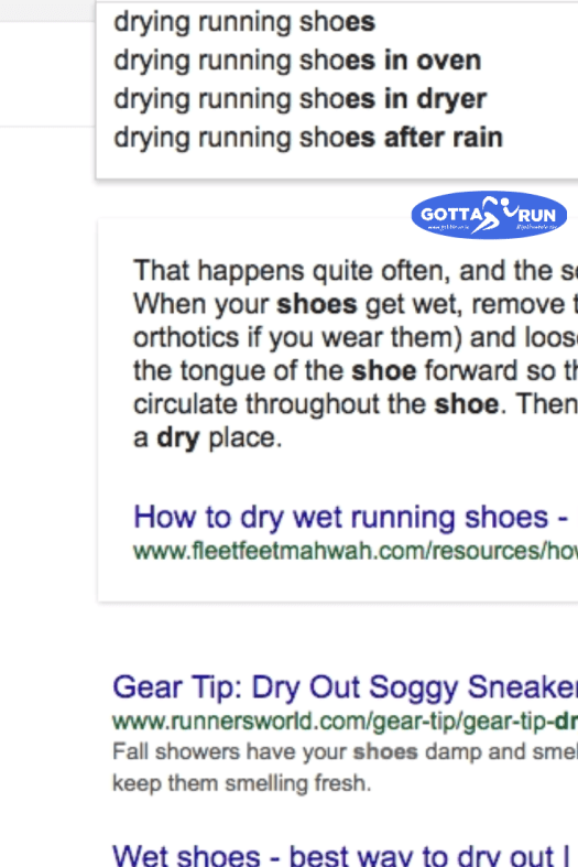 google search for dry your running shoes