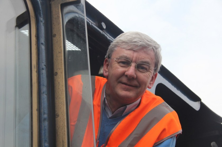 Don Hale in 2013, author of Mallard: How the Blue Streak Broke the World Steam Speed Record, on the footplate of an A4 Pacific.