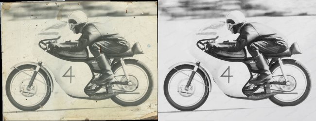Motorcycle Photo Restoration black and white