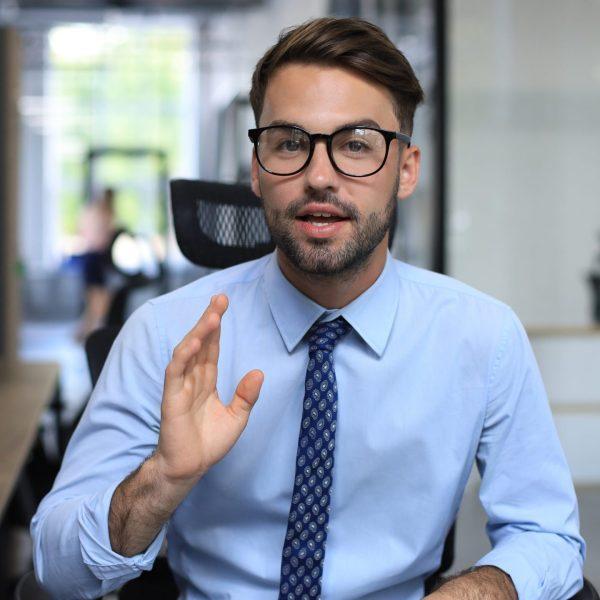 Businessman Presenting a Vlog