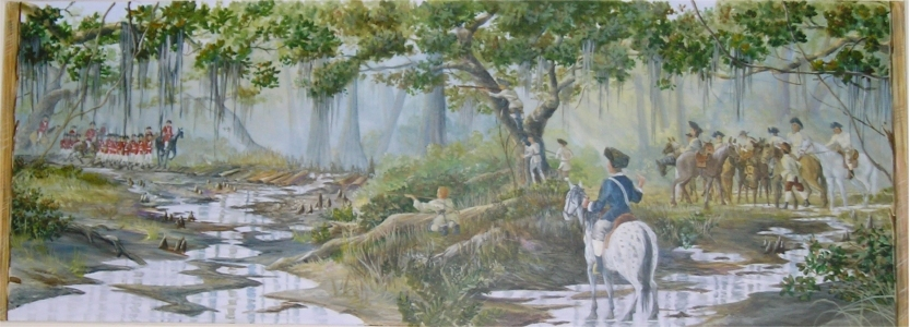 Battle of Wyboo Swamp Mural in Manning