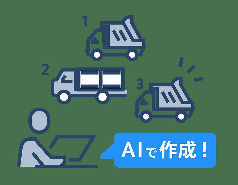 AIが膨大な組み合わせパターンを検討した上で、効率的な配車表を作成