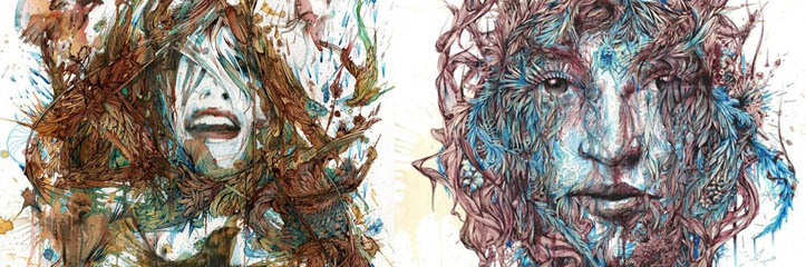 Carne Griffithsよるインクとお茶で描いたポートレート