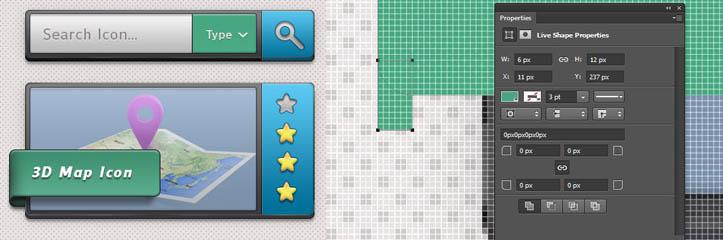 Adobe Photoshopで検索バーと画像表示インタフェースをデザインします