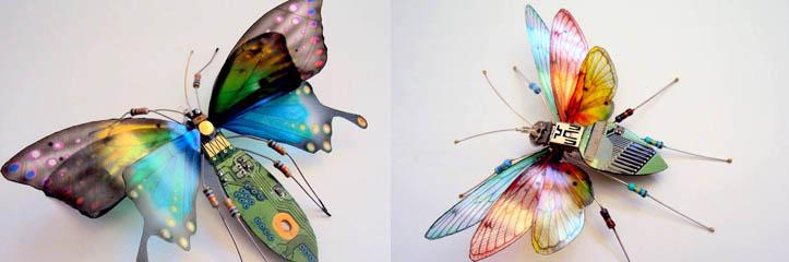 捨てられた回路基板から作られた美しい羽のある虫