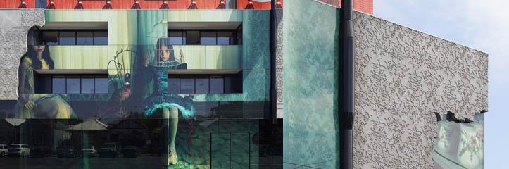 メルボロンの2人の少女が建物の外見に沿ってまたがります