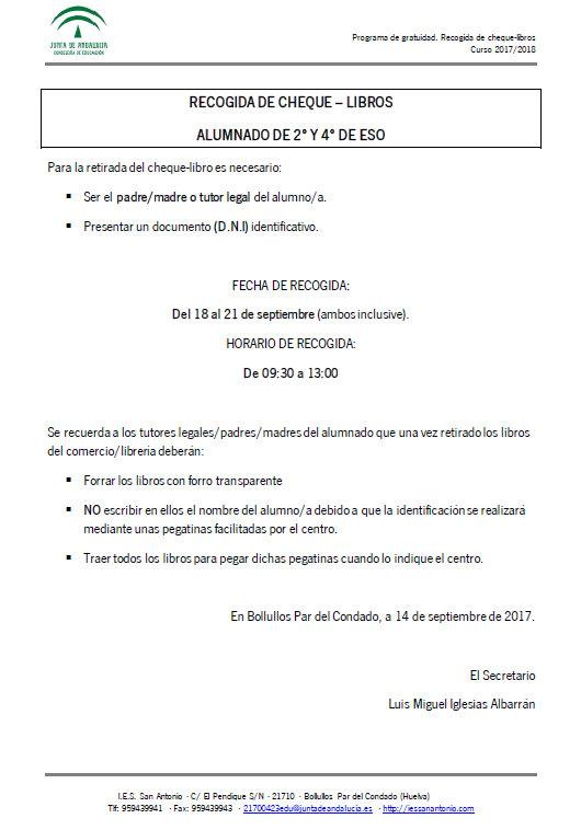 Recogida cheque libros 2º y 4º - 1718 - IES San Antonio
