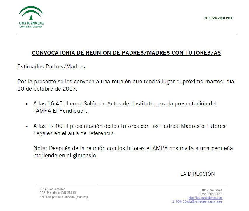 CONVOCATORIA DE REUNIÓN DE PADRES CON TUTORES
