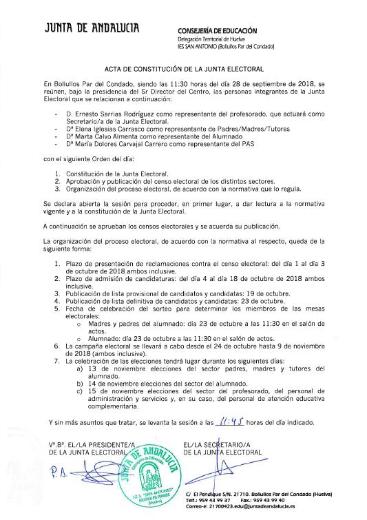 Acta de constitucion Junta Electoral - Elecciones Consejo Escolar 1819 - IES San Antonio