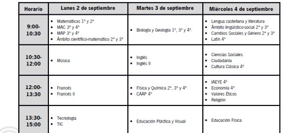 Examenes septiembre 2018-2019
