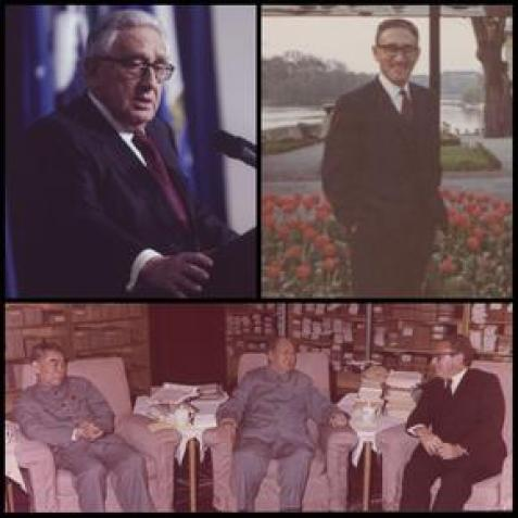 Collage of images of Dr. Henry A. Kissinger highlighting his career
