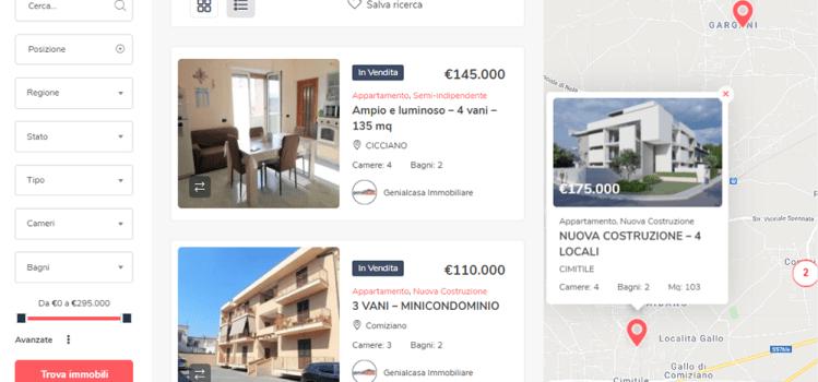 Ricerca immobili Software gestionale personalizzato per siti web immobiliari