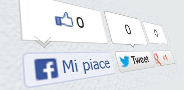 """Pulsanti di condivisione di Facebook, Twitter e Google Plus. Il """"Mi piace"""" sul web"""