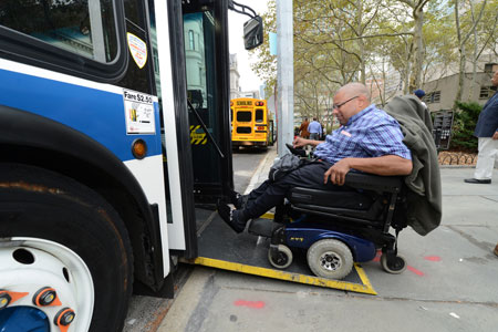 All buses are 100 percent accessible. Many feature on-boarding ramp as shown in this image
