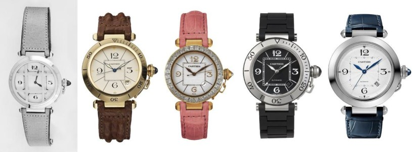 From left to right: the original Pasha from the early 1930s, a 1985 model, a Pasha for women from 1998, the Pasha Seatimer from 2006, and a watch from the new collection., GF / Cartier