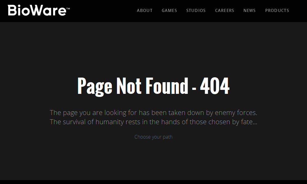 Best 404 pages: BioWare