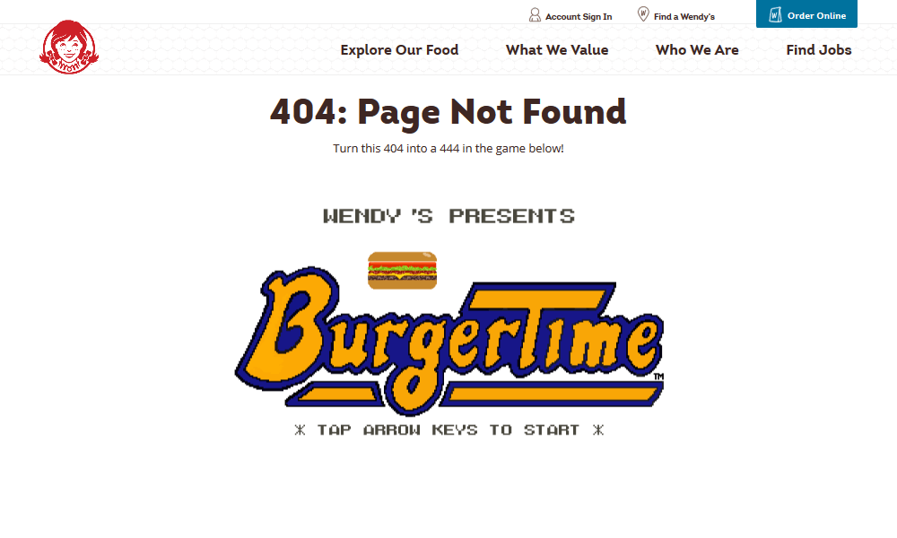 Best 404 pages: Wendy's