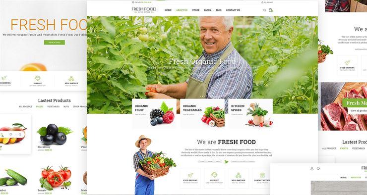 Fresh Food - Organic Food eCommerce PSD Template Web3Canvas