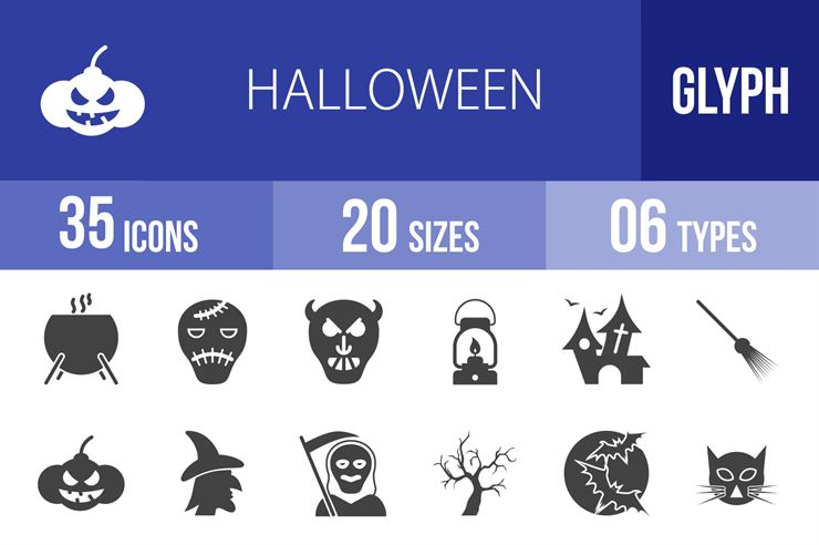 35 Halloween Glyph Icons Web3Canvas