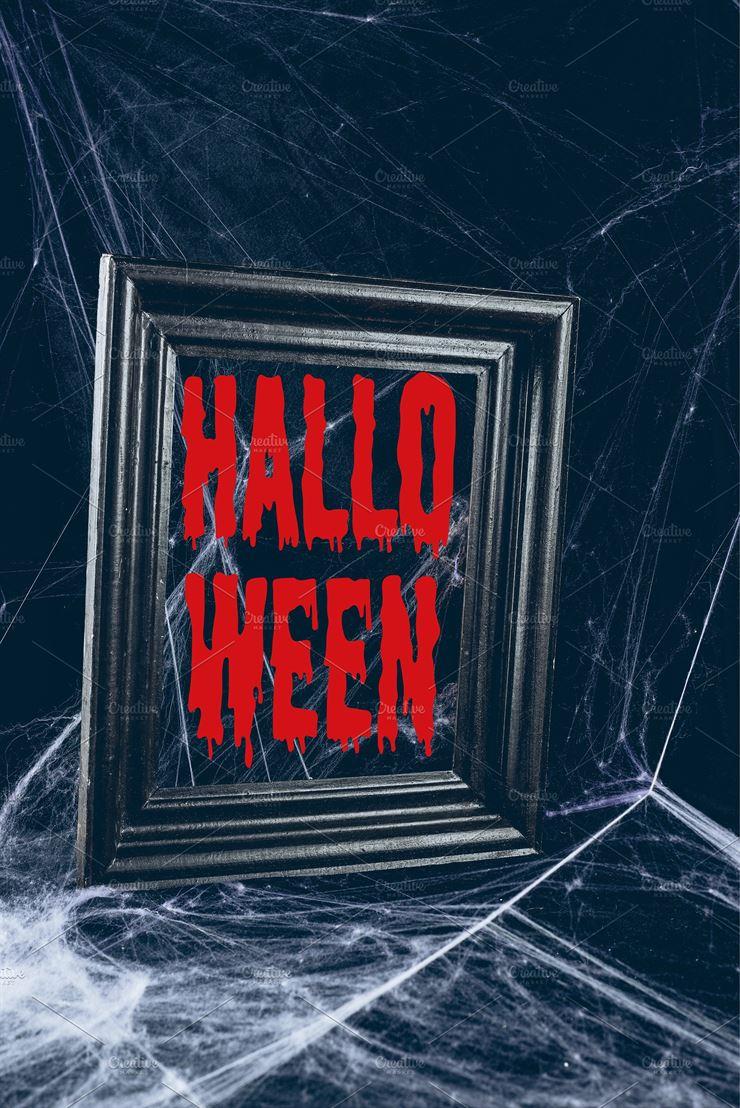 Black Frame in Spider Web, Creepy Decor Web3Canvas