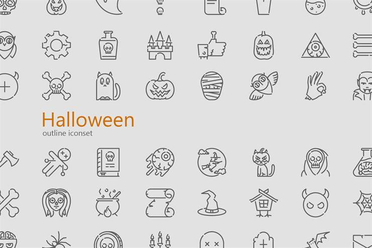 Halloween Modern Outline Icon Set Web3Canvas