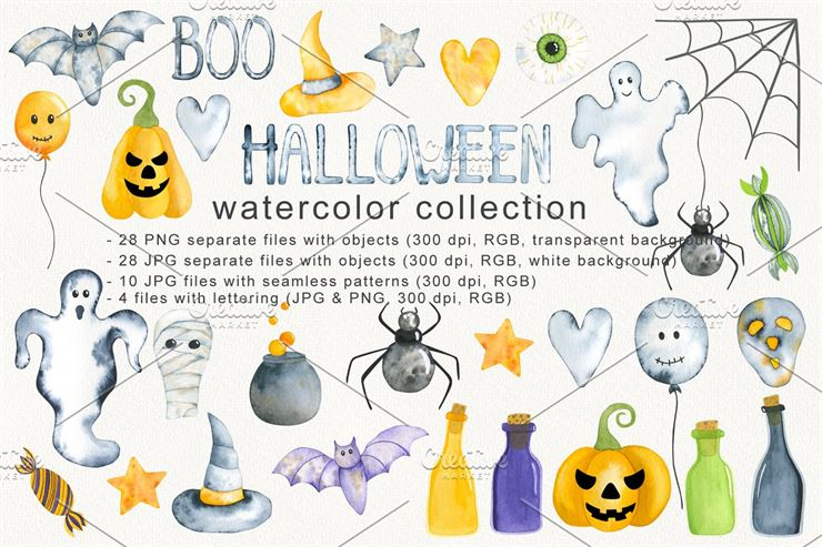 Halloween Watercolor Collection Web3Canvas