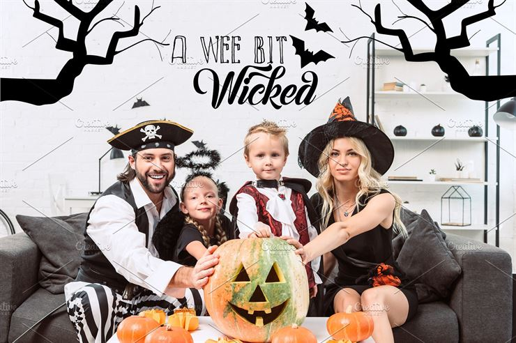 Portrait of Family in Various Halloween Costumes Web3Canvas