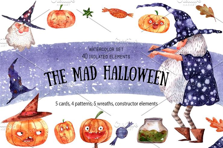 The Mad Halloween Watercolor Set Web3Canvas