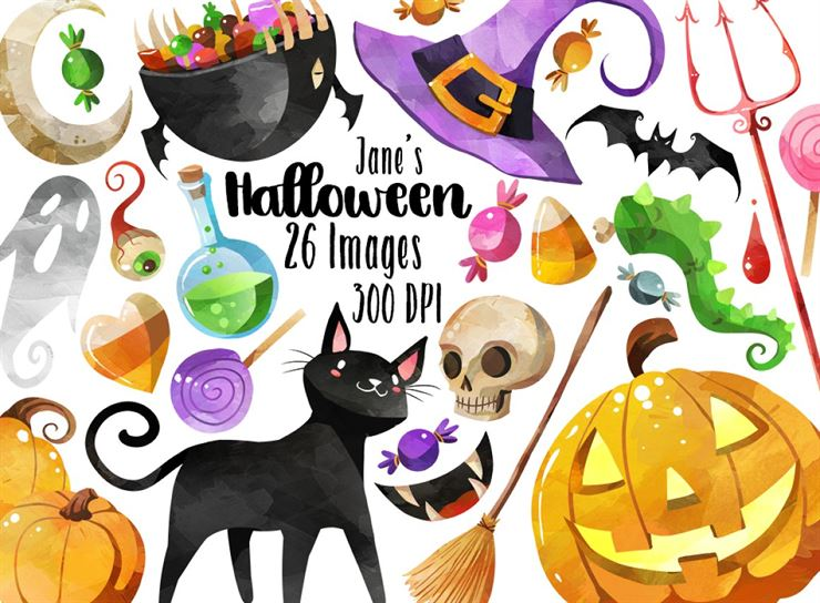Watercolor Halloween Clipart Web3Canvas