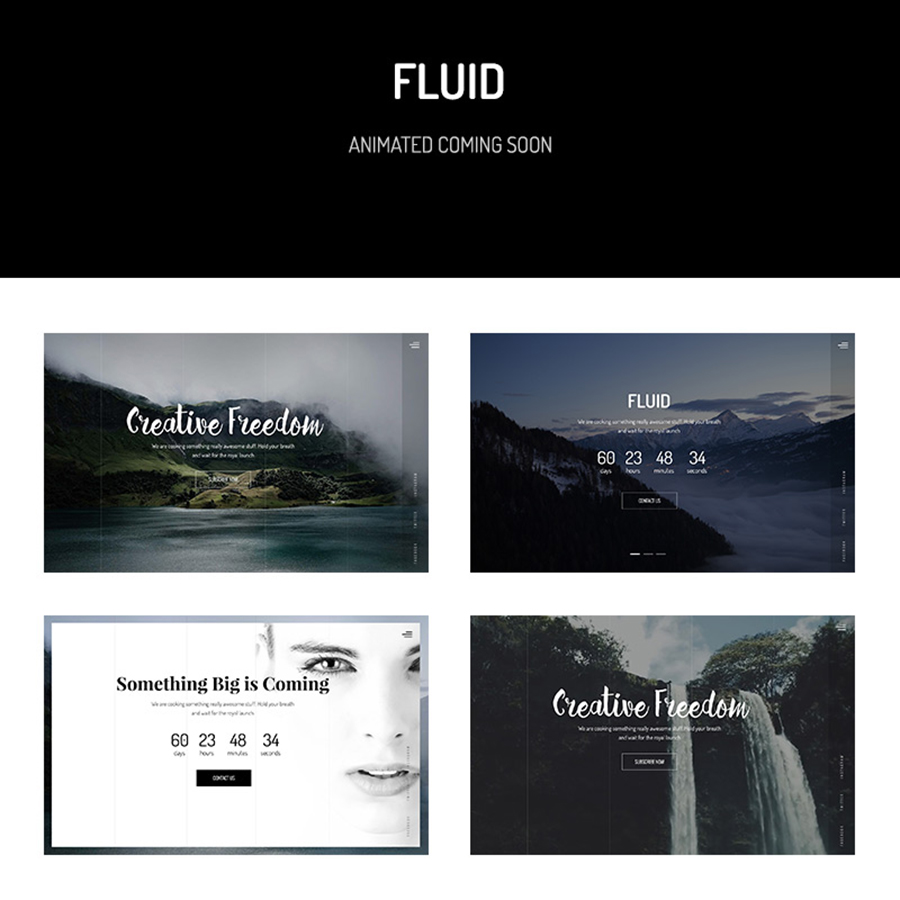 Fluid & Animated Coming Soon Template Website Template