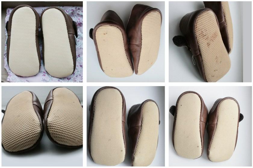 Zeigt her Eure Füße: Die Puschensohle vor Gebrauch (oben links) nach drei, sechs, neun, zwölf und fünfzehn Wochen (unten rechts) intensiven Tragens. Foto: Julia Marre