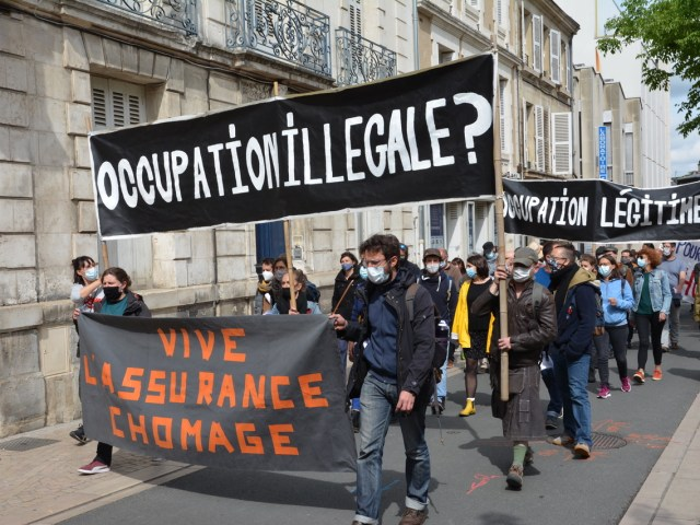 [Photos-Vidéos] Le 7 mai à Poitiers : Occupation illégale ? Occupation légitime !
