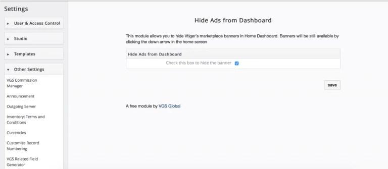 extensão do VTiger para ocultar o banner no painel