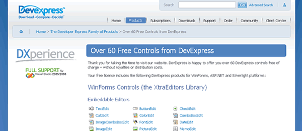 devexpress-controles-gratis