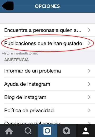 instagram donde estan las publicaciones que te han gustado opcion