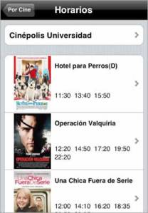 Cartelera de cine en iPhone con Cinefilo