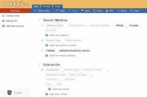Hacer curriculum online en JobSpice