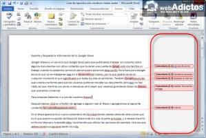 Insertar comentarios en Word 2010