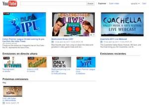 Youtube Live, el canal de Youtube con contenido en vivo