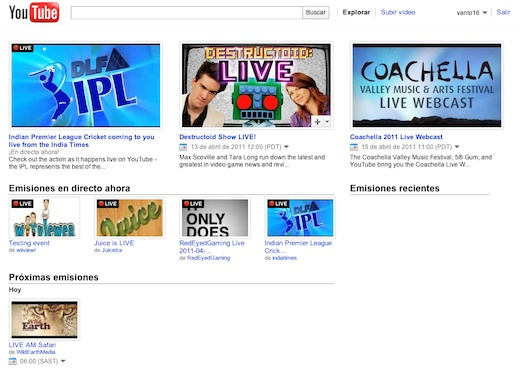 Youtube Live, el canal de Youtube con contenido en vivo - Youtube-Live