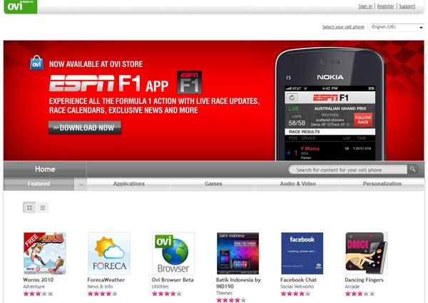 Algo gracioso que pasó en la Ovi Store de Nokia - ovi-store-homepage