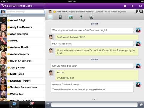 Yahoo! Messenger para iOS se actualiza y trae las videollamadas al iPad 2 - Captura-de-pantalla-del-iPad-1