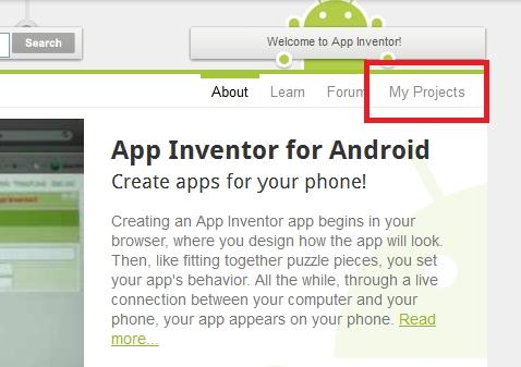 app inventor my projects Como crear una aplicación para Android con App Inventor