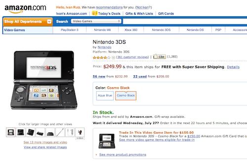 Amazon dejó de vender el Nintendo 3DS.... por un tiempo - amazon-3ds