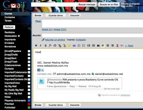 firma correo gmail Personalizar la firma de tus correos con WiseStamp