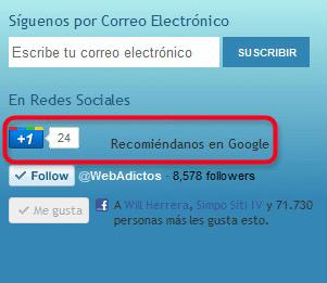+1 google webadictos2 Instalar el botón +1 en Google Chrome y cómo usarlo.