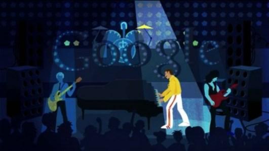 freddy mercury doodle 590x332 Freddie Mercury homenajeado a lo grande por Google por medio de un Doodle