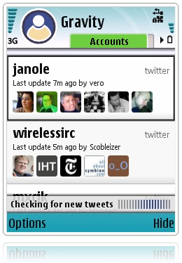 Gravity, cliente de redes sociales para Symbian - gravity
