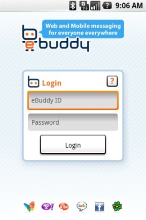 login scr eBuddy, la aplicación definitiva para chat en Android
